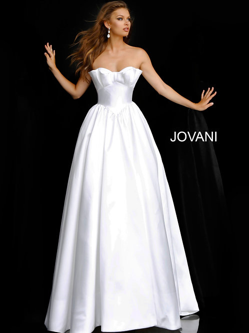 Off White Strapless Lace Up Back Wedding Ballgown JB68158