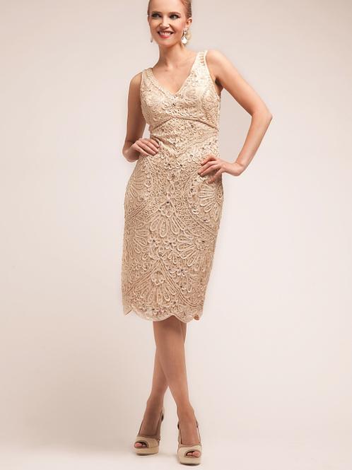 Mignon Manley Beaded Lace MidiDress