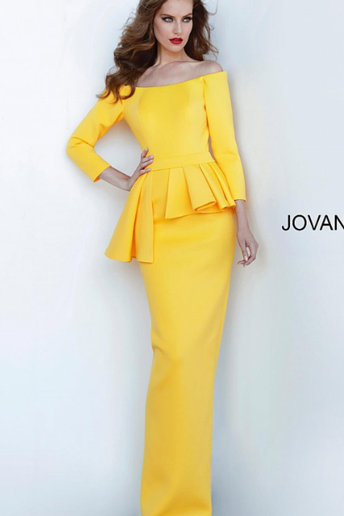 Jovani 2144 Yellow Off the Shoulder Fitted Evening Dress