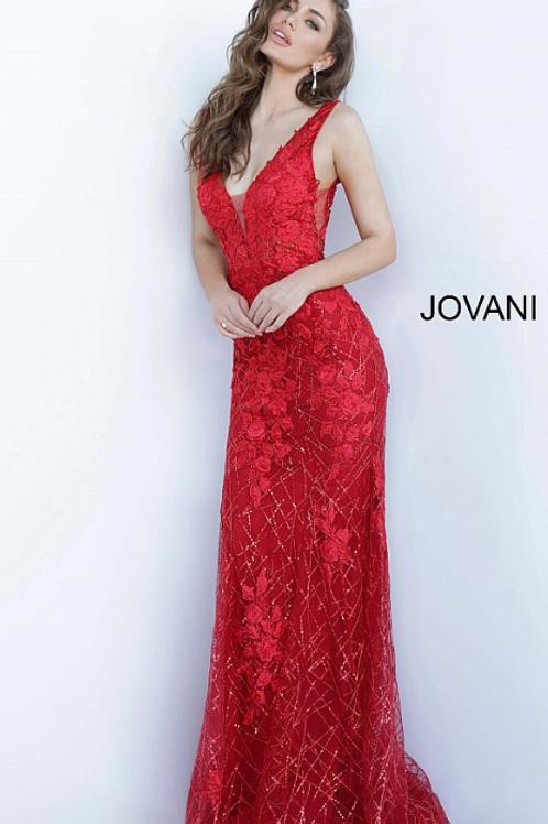 JOVANI Floral Applique V Neck Prom Dress 02152