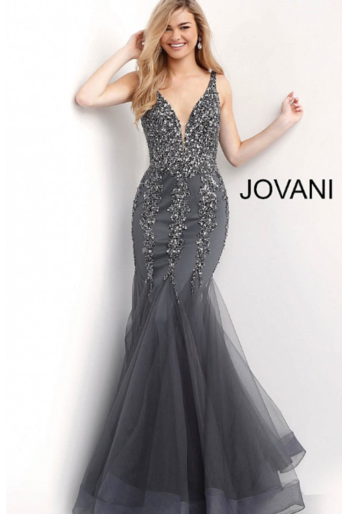 Charcoal Plunging Neckline Beaded Mermaid Prom Dress 63700