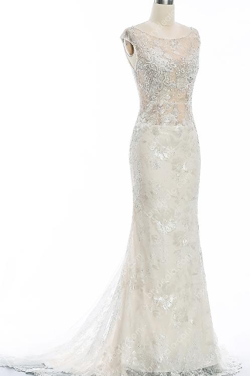 Drop Waist Shimmery Lace Mermaid Wedding Dress