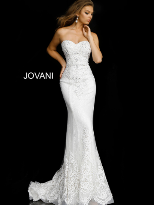 JOVANI White Embroidered Strapless Bridal Gown JB37043