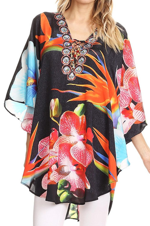 Wide Circle Blouse V Neck Top With Tassle Ties And Rhinestones