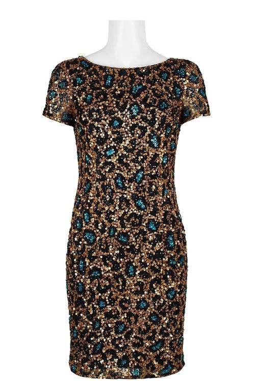 Top Designer Boat Neck Short Sleeve Sequin Mesh Dress