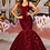 Thumbnail: PS21006 Deep Red Gown Sweetheart Neckline