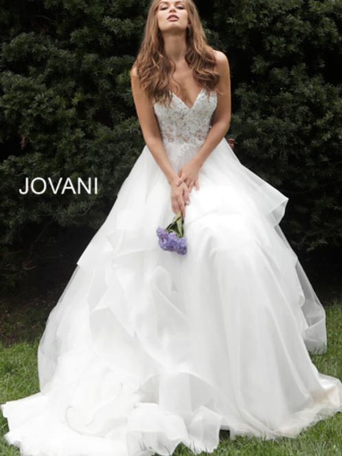 JOVANI Off White Spaghetti Straps Embroidered Wedding Dress JB65937