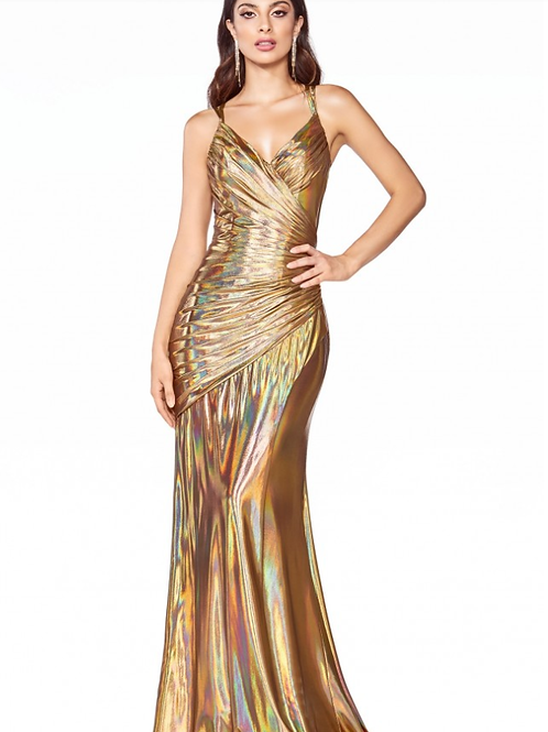 Fitted Dress with Metallic Liquid Iridescent Fabric