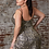 Thumbnail: Cinderella Divine Fitted Sequin Leopard Gown With Gathered Waist