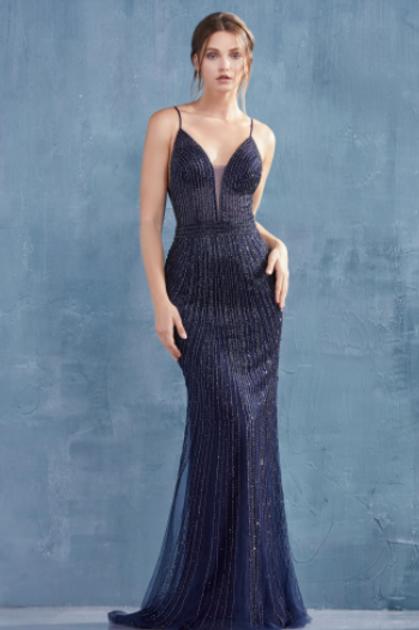 Andrea & Leo Caviar V-Neck Sheath Beaded Gown