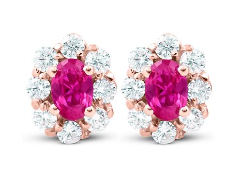 3 Ct Pink Topaz & Diamond Halo Studs