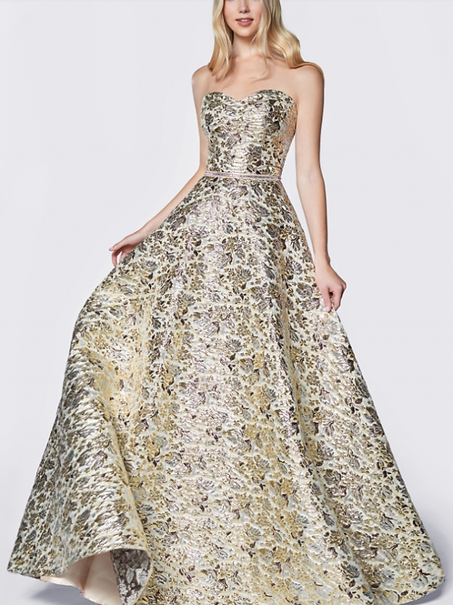 Strapless Ball Gown W Metallic Brocade Gown