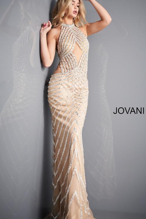 Jovani 00817 Nude White High Neck Beaded Prom Dress