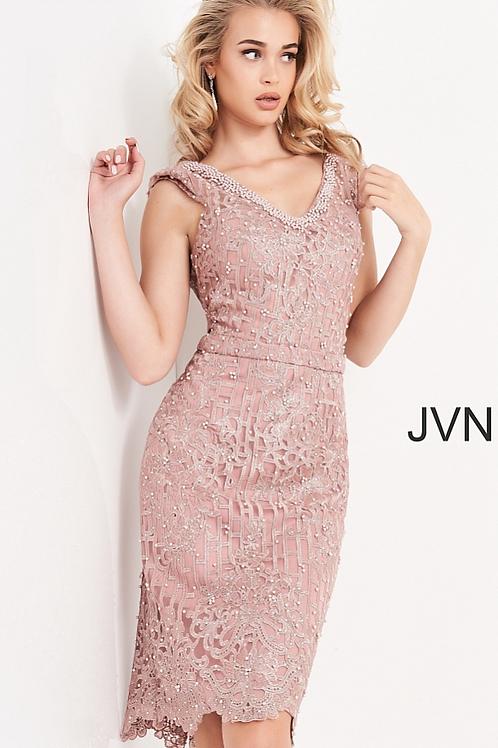 JOVANI JVN02246 Mauve Embellished Knee Length Cocktail Dress