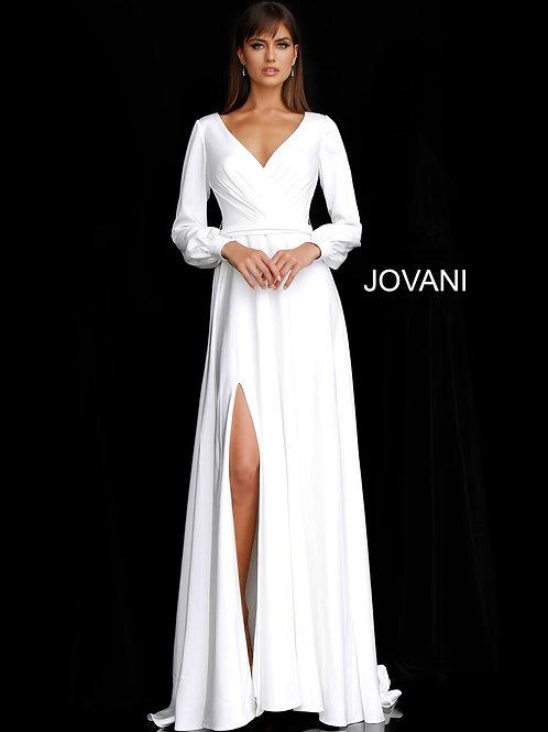 Off White Long Sleeve V Neck Bridal Dress JB68162