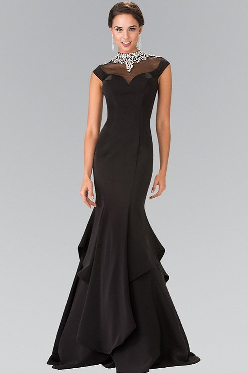 Elegant Long Gown With Illusion Neckline
