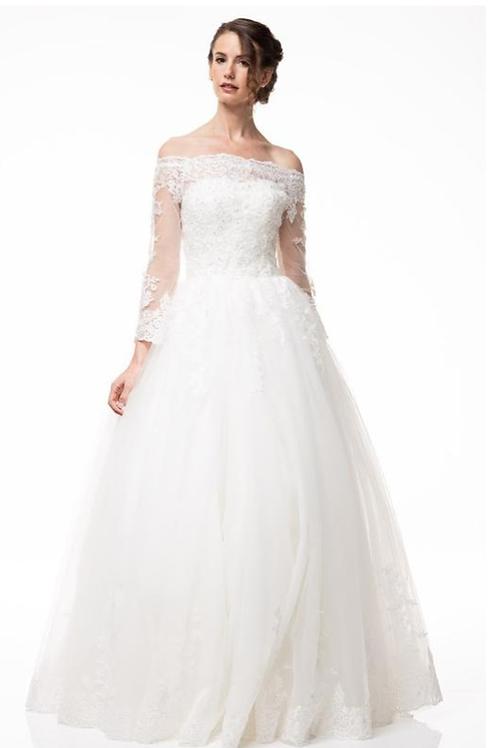 Long Sleeves Off Shoulder Bridal Gown