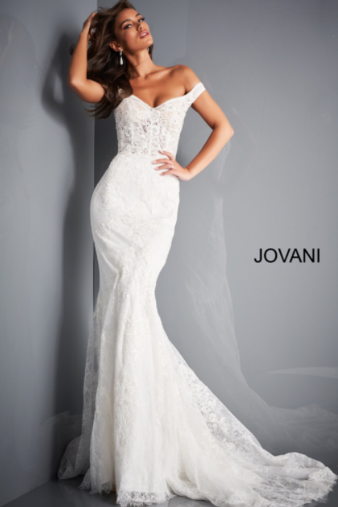 JAVONI JB2493 Ivory Off the Shoulder Lace Wedding Dress