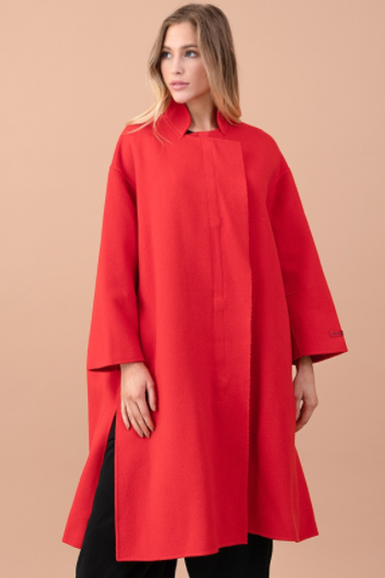Mock Neck Oversized Wool Coat