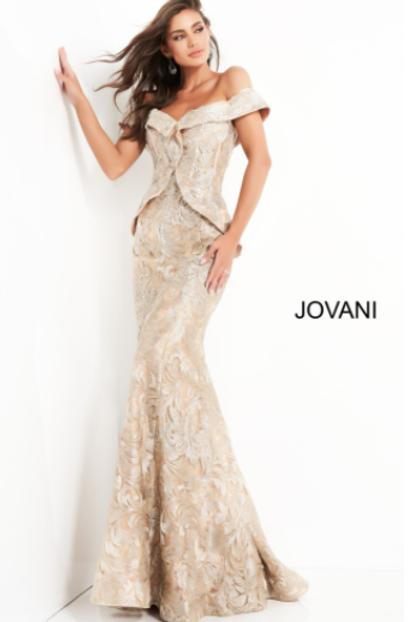 Jovani 02762 Gold Embellished Off the Shoulder Evening Dress