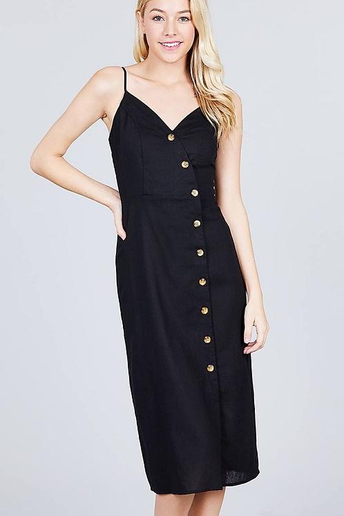 V-neck Surplice Button-down Midi Linen Dress