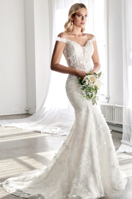 Cinderella Divine Fitted Bridal Gown With 3D Floral Appliques