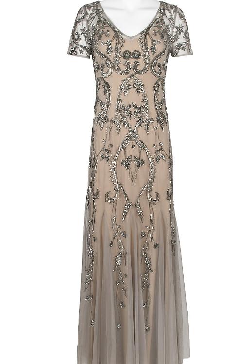 Adrianna Papell V-Neck Short Sleeve Embellished Dress