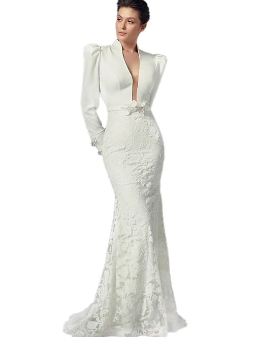 Tailored Long-sleeved Evening Gown