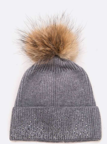 Raccoon Fur Crystal Pave Wool Blend Cap