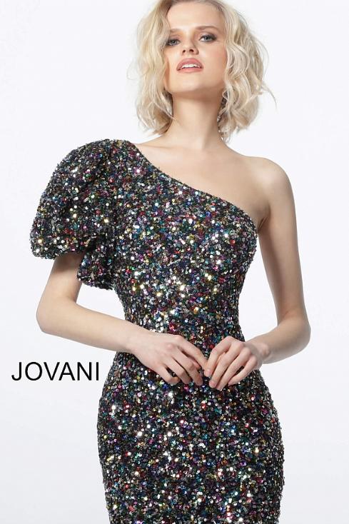 Jovani Black Multi One Shoulder Sequin Cocktail Dress 1898