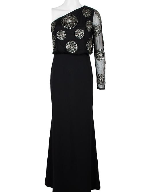 Adrianna Papell One Shoulder Long Sleeve Blouson Embellished Mech Crepe Dress