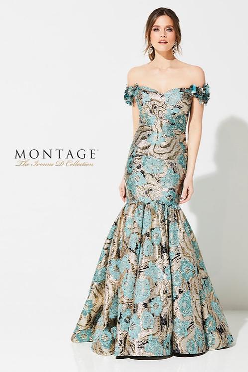 Luxurious & Grand Strapless Metallic rBocade Trumpet Gown