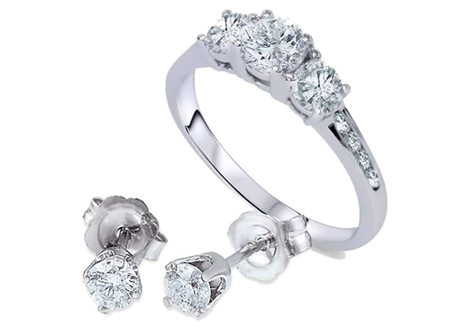 Perfect Gift 1 1/2ct 3 Stone Diamond Ring & Matching Studs 14K White Gold (I/J,