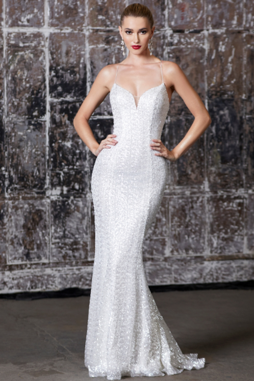 Fitted Iridescent Sequin Gown with Lace-up Back