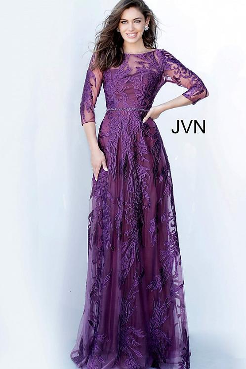 JVN02963 Long Sleeve Maxi Evening Dress