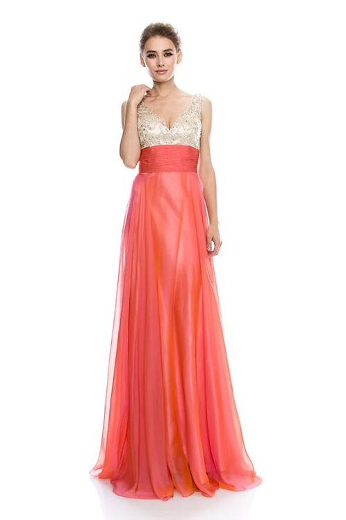 EVENING GOWN - CORAL SLEEVELESS V-NECK EMPIRE WAIST