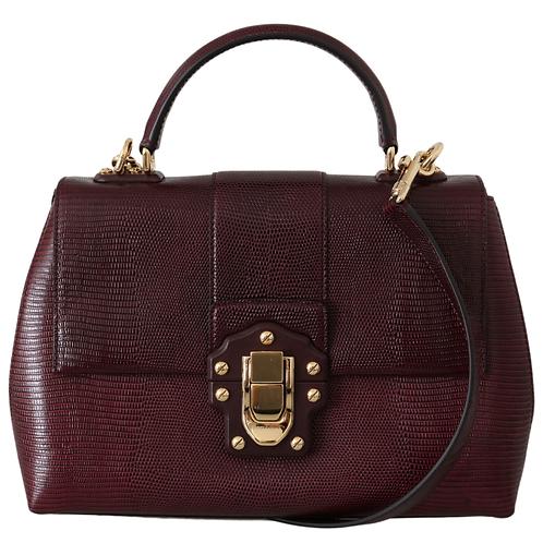 DOLCE & GABBANA Purple Leather Luicia Shoulder Handbag Borse Purse