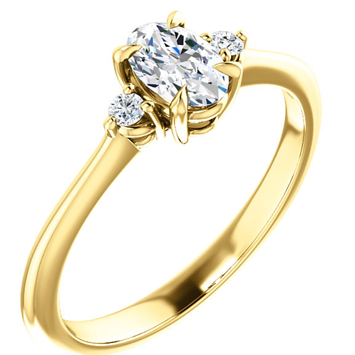 14K Yellow 6x4 mm Oval .05 CTW Diamond Semi-Set Engagement Ring