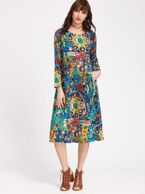 Multicolor Graffiti Print Shift Dress With Pockets