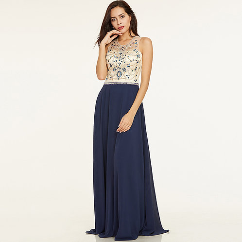 GOWN, BEADED IN ROYAL BLUE