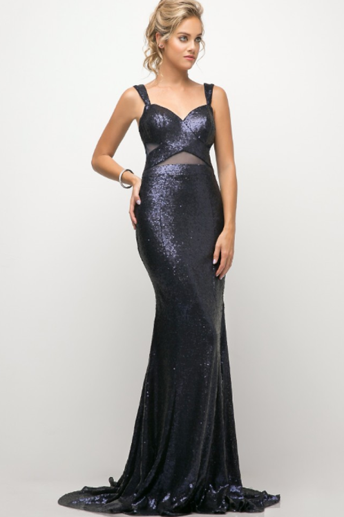 Fitted sequin gown with illusion cut outs and open back