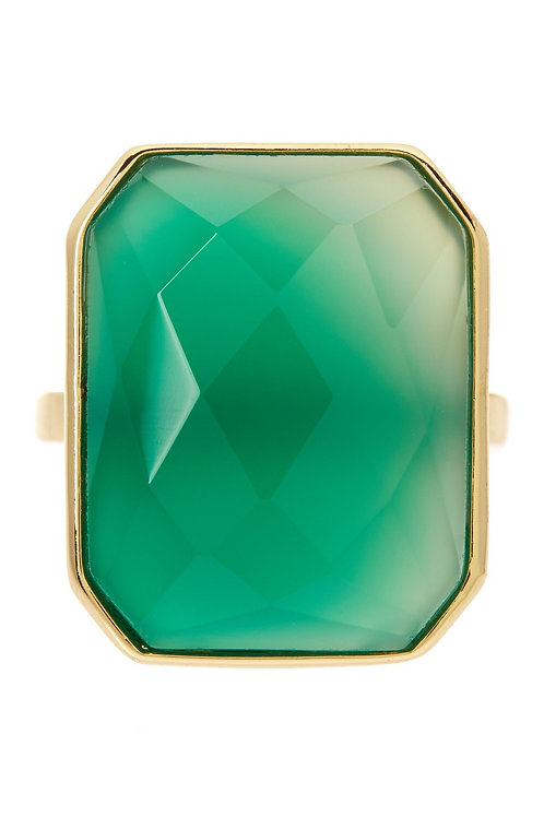 18K Gold Clad Green Chalcedony Statement Ring