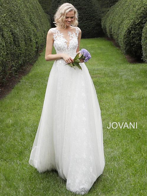 Off White Sleeveless Embroidered Bodice Wedding Dress JB68167