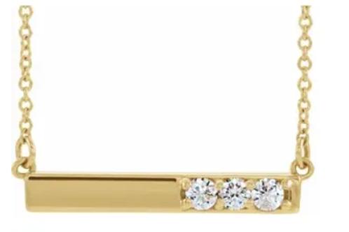 "14K Yellow 1/5 CTW Diamond Bar 16-18"" Necklace"