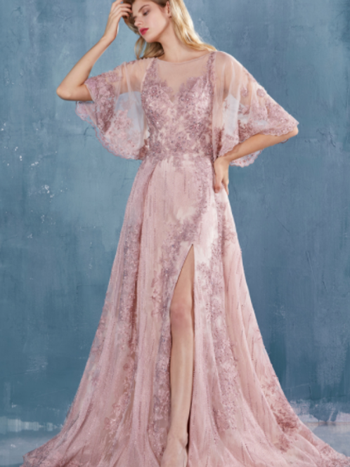 "ANDREA & LEO ""KARISA"" Gown. Lace Flutter Sleeves A-Line With Slit"