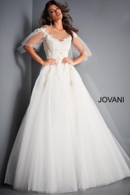 JOVANI JB67209 Off White Off the Shoulder embellished Wedding