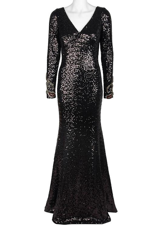 Tahari ASL V-Neck Long Sleeve Sequin Embroidered Mesh Dress