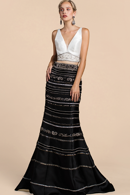 Two Piece Beaded Mikado Mermaid Gown