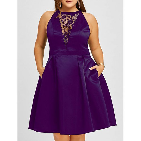 Plus Size Lace Insert Sleeveless Swing Dress - Purple 3xl