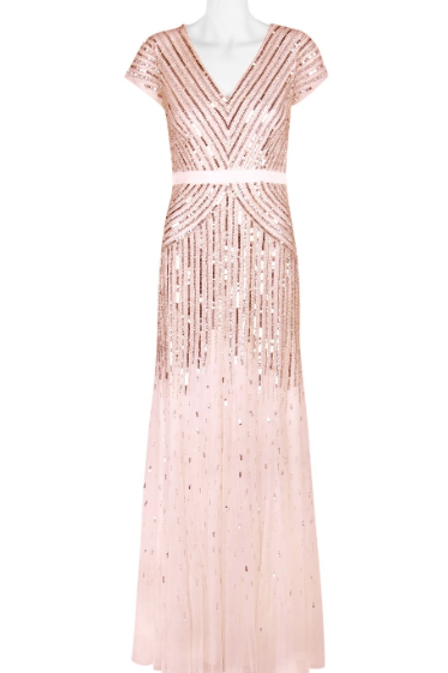 Adrianna Papell V-Neck Short Sleeve Banded Waist Zipper Back Sequined Mesh Dress